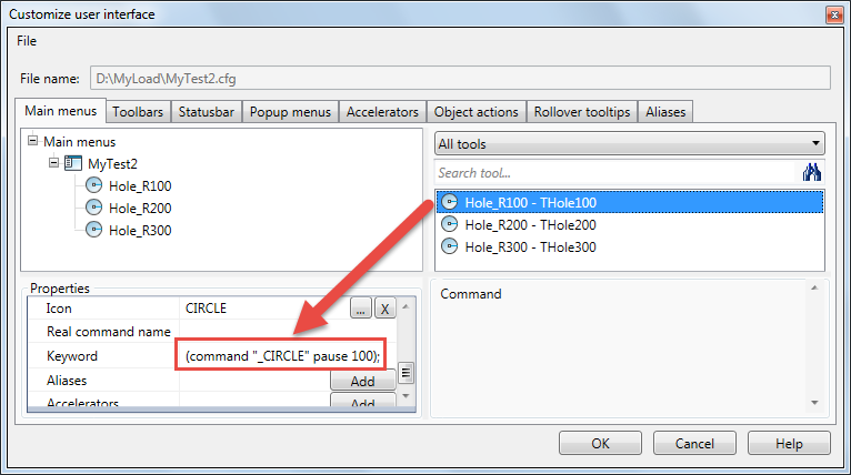 Extension of the menu functionality in nanoCAD 8 5: macros